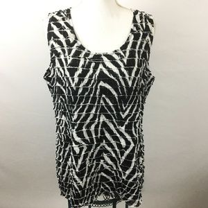 EasyWear By Chicos Sleeveless Tiered Shirt Large
